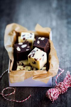 white chocOlate fudge with dried cranberries and chocolate milk fudge with salt peanuts