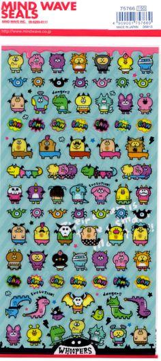 Kawaii Japan Sticker Sheet Assort: Cute Derpy Monsters on Etsy, $3.00