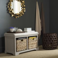 Solid Wood Storage Entryway Bench
