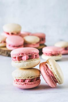 These are my Strawberry Macarons, filled with a delicious Strawberry Cream Cheese Frosting, made with freeze dried strawberries Strawberry Lemonade, French Macarons Recipe, Macaron Recipe, Freeze Dried Strawberries, Strawberries And Cream, Summer Treats, Summer Desserts, White Food Coloring
