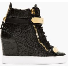 8a3eaefba60b0 Giuseppe Zanotti Black Croc-Embossed Loren Z75 Wedge Sneakers Nude Wedges