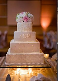 Modern square cake with simple monogram. Gorgeous!  Like a lot