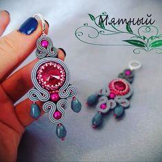 Boho Jewelry, Jewelery, Jewelry Design, Women Jewelry, Chandelier Earrings, Tassel Earrings, Black Earrings, Shibori, Soutache Tutorial