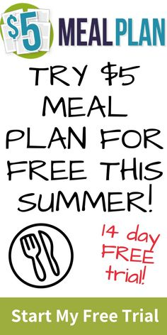 Summer meal planning made easy. Get a $5 Meal Plan Free Trial just for signing up. #affiliate #mealplan #freemealplan  #mealplanning #summermealplanning
