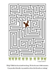 Help Eddie who has turned into a little monster find his way outside to his friends in this medium difficult maze for kids. Mazes For Kids Printable, Free Printable Worksheets, Worksheets For Kids, Free Printables, Kids Mazes, Maze Worksheet, Math Activities For Kids, Teaching Art, Fun Learning
