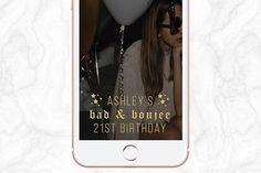 Bad & Boujee Stars Gold Glitter 21st 18th 16th Birthday Snapchat Geofilter