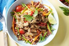 Give your brown rice bowl a makeover with this Thai beef power bowl that packs a flavour punch. Asian Recipes, Beef Recipes, Healthy Recipes, Thai Recipes, Healthy Meals, Healthy Food, Thai Beef Salad, Roasted Pear, Salad With Sweet Potato