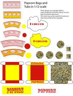 Printable pieces to make a popcorn machine and popcorn containers in dolls house scale.