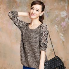 New Hollow Lace Flower Decolletage Pullover Knit Sweater