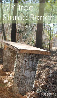 DIY Tree Stump Bench - The Summery Umbrella