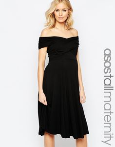 Image 1 of ASOS Maternity TALL Skater Dress With Bardot Neckline