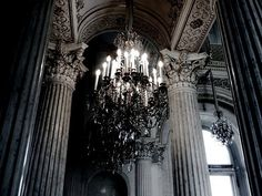 Not something of this scale but...a black chandelier seems awesome