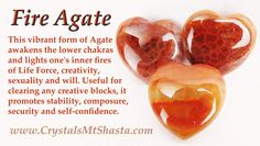 Crystal of the Day - Fire Agate! Great for creativity, sexuality, stability & self-confidence.  http://www.crystalsmtshasta.com/blog/crystal-of-the-day-fire-agate/