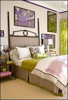 Amanda Nisbet - lime and lavender bedroom