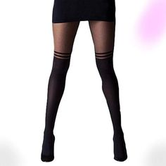 Striped Tights, Sheer Tights, Women's Tights, Thigh High Tights, Cute Tights, Striped Stockings, Patterned Tights, Opaque Tights, Black Pantyhose