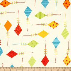 Urban Flotologie Flannel Kites Wild from @fabricdotcom  Designed by Ann Kelle for Robert Kaufman, this double-napped (brushed on both sides) flannel fabric is perfect for quilting, apparel and home decor accents. Colors include yellow, green and red.