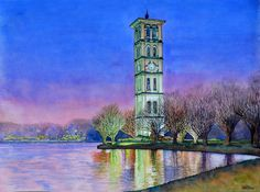 Evening at Furman Bell Tower Art World, Notre Dame, Tower, Watercolor, Artist, Painting, Travel, Pen And Wash, Watercolor Painting