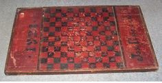 VERY EARLY ANTIQUE CHECKERBOARD GAMEBOARD 1921 Wooden OLD COLOR Checker Board