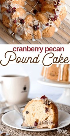 For a fun and easy brunch recipe, I made this wonderful Cranberry Pecan Pound Cake Recipe. It's so perfectly thick but fluffy--I can't sing it's praises enough. New Year's Desserts, Single Serve Desserts, Desserts For A Crowd, Winter Desserts, Cute Desserts, Party Desserts, Delicious Desserts, Pecan Pound Cake Recipe, Pound Cake Recipes