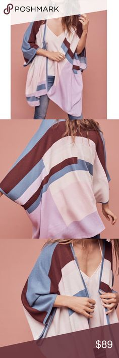 ANTHROPOLOGIE KNIT GEOMETRIC PONCHO - SZ XS/S NWT Beautiful geometric knit PONCHO from ANTHROPOLOGIE in size XS/S, blue, burgundy and lilac colors Anthropologie Sweaters Shrugs & Ponchos