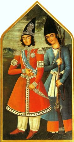 A Qajar prince and his attendant, oil painting, 1820 (or later), Iran, Tehran, Qajar dynasty. The British museum, London