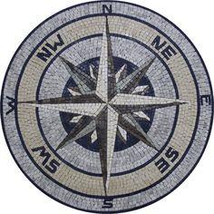 Nautical Compass Destination Leader Round Medallion Design Marble Mosaic MD961 #Unbranded