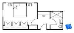 Master bedroom floor plan with vestibule entry housing a dressing table.  Bedroom with wardrobes and standard size master bathroom.  Click through for more analysis.