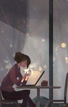 Rain - A gallery-quality illustration art print by Abigail Dela Cruz for sale.