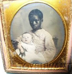 RARE ANTIQUE AMBROTYPE NANNY BLACK GIRL WHITE BABY AMBRO SIXTH PLATE MAMMY SLAVE