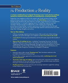 The Production of Reality: Essays and Readings on Social Interaction #book #health http://www.healthbooksshop.com/the-production-of-reality-essays-and-readings-on-social-interaction-2/ Featuring a new emphasis on how to be awake in the world and how to better see the patterns we use to make sense of our own lives, this fifth edition of Jodi O'Brien's popular book introduces the major theories, concepts, and perspectives of contemporary social psychology in a uniquely engaging manner...