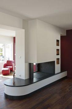 Cheminées Fariello Bordeaux   Cheminée contemporaine à foyer ouvert double face Saint Aubin, Lounge, Laminate Flooring, Home Remodeling, Pergola, Stairs, The Originals, Architecture, Modern