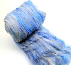 "Merino Bamboo, spinning fiber batt, hand dyed, blue, gray, Drum carded smooth, art batt, spinning wool,  Colorway ""Rain cloud""  4 oz by AbbiesAngoraArt on Etsy"