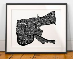 New Orleans typography map new orleans art print new by joebstudio