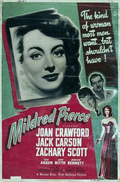 """""""Mildred Pierce"""" (1945) Joan Crawford had tough competition that year for the Oscar, but she definitely deserved it for Mildred Pierce."""