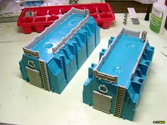 Blue gang boxes from the hardware store electrical aisle - best bunkers ever!