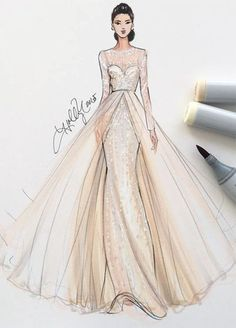 Fashion illustration by Holly Nichols (Monique Lhuillier gown)