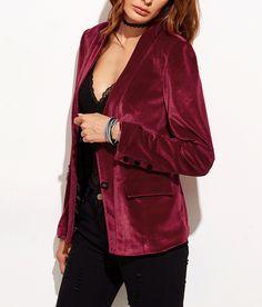 New trending-Vintage laxury velvet blazer. Love this burgundy one at shein.com. 50% off now!