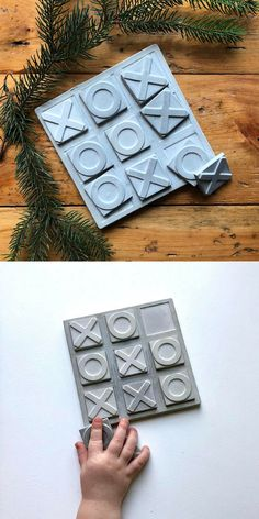 I love this concrete Tic Tac Toe game. #commissionlink #concrete #cement #tictactoe #game #kids