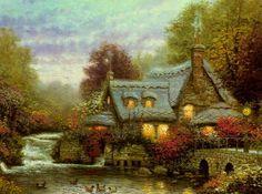 The Millers Cottage, Thomashire~Thomas Kinkade~1992