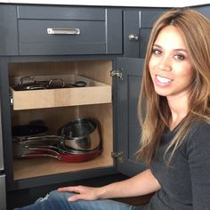 This used to be a shelf.  It's easy to convert a kitchen cabinet shelf into a pull out drawer.  All you'll need is some wood for the sides and a set of drawers slides.  Oh and if you need tools my friends at @ryobipowertools are giving away some of the tools I used to build this project!  #plans #project #ontheblog #linkinprofile #sponsored #proudtoworkwithryobi #saveyourback #wood #kitchen #cabinet #finallyaplaceforlids Tag a friend that needs this!