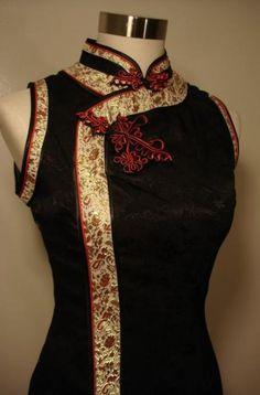 NEW Black Chinese Cheongsam Dress qi pao Dragon Texture The gold collar is striking. Oriental Dress, Oriental Fashion, Asian Fashion, Chinese Fashion, Cheongsam Dress, Shirt Bluse, Chinese Clothing, Fashion Mode, Ao Dai