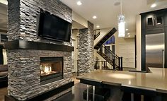 Slate Gray Stacked Stone Fireplace