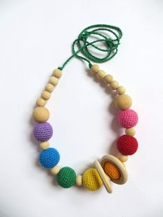 SALE Rainbow nursing necklace with rings ready to di Meiroadas