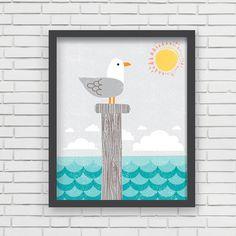 Home Decor Nautical Nursery Wall Art  Seagull by LucyDarlingPrints, $19.99