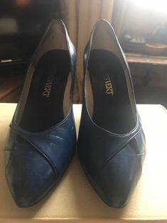 Vintage Royal Blue Court Shoes Pumps Slip Ons | Etsy Blue Court Shoes, Wine Shoes, Blue Stilettos, Leather High Heels, Beautiful Shoes, Pump Shoes, Deep Blue, Royal Blue, Stiletto Heels