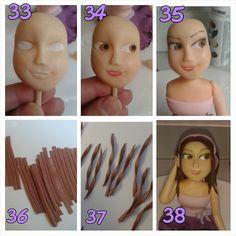 Esta boneca não está mesmo parecida com a violetta nem está perfeita, mas foi a minha Violetta!   1. Faça um rolo de pasta e corte ao meio. ...