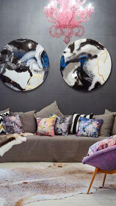 = purple, pink, blue, neutral and grey = Megan Weston artwork