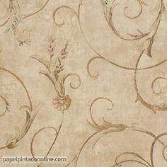 Papel Pintado Paris RS71104 con fondo marrón y estampado floral de forma circular de estilo clásico.