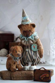 Bear clown and doggy By Anna Martynenko - Bear Pile