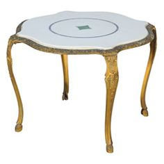 Spectacular Gilt Bronze Accent Table with Top of Marble, Lapis and Malachite | From a unique collection of antique and modern side tables at https://www.1stdibs.com/furniture/tables/side-tables/